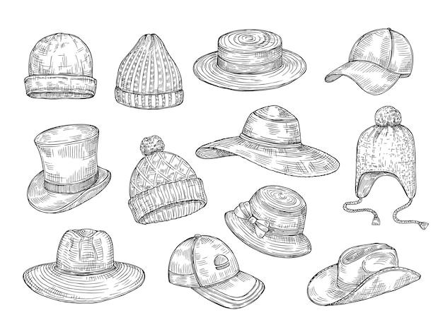 Set di cappelli di schizzo Vettore Premium