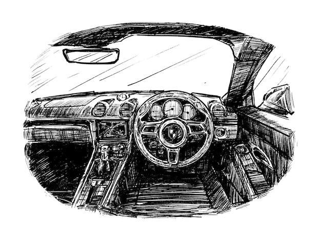 Schizzo dell'interno del tiraggio della mano dell'auto Vettore Premium