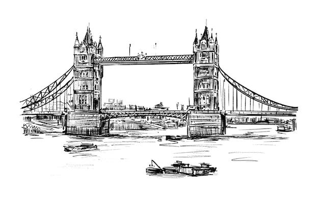 Schizzo del tiraggio della mano del tower bridge di londra Vettore Premium