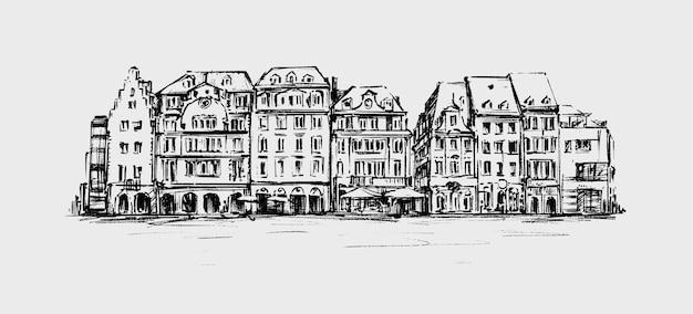 Schizzo del vecchio edificio in europa disegnare a mano Vettore Premium
