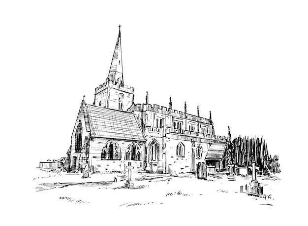 Schizzo di tiraggio della mano della vecchia chiesa di pietra Vettore Premium