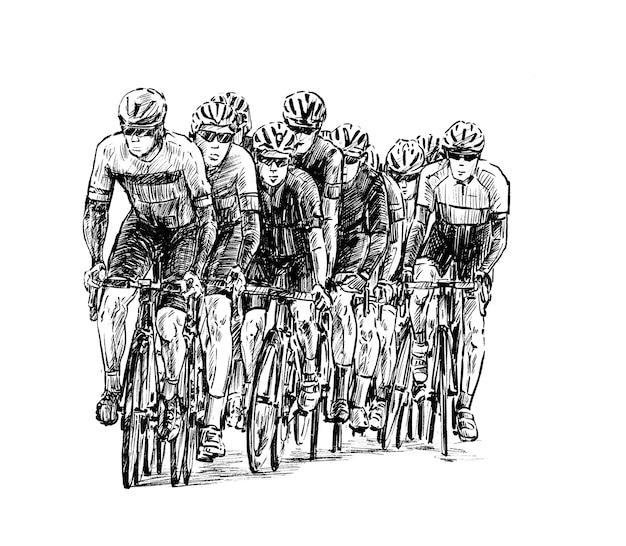 Schizzo del tiraggio della mano del gruppo di biciclette da strada Vettore Premium