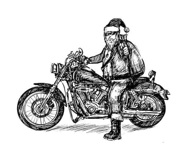 Schizzo del tiraggio della mano di santa mortocycle Vettore Premium