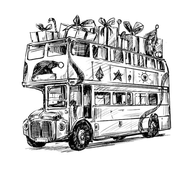 Schizzo del tiraggio della mano di natale dello scuolabus Vettore Premium
