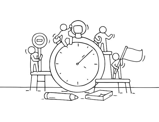 Schizzo del cronometro con piccole persone che lavorano. doodle carino lavoro di squadra in miniatura sulla scadenza. fumetto disegnato a mano per progettazione aziendale e infografica. Vettore Premium