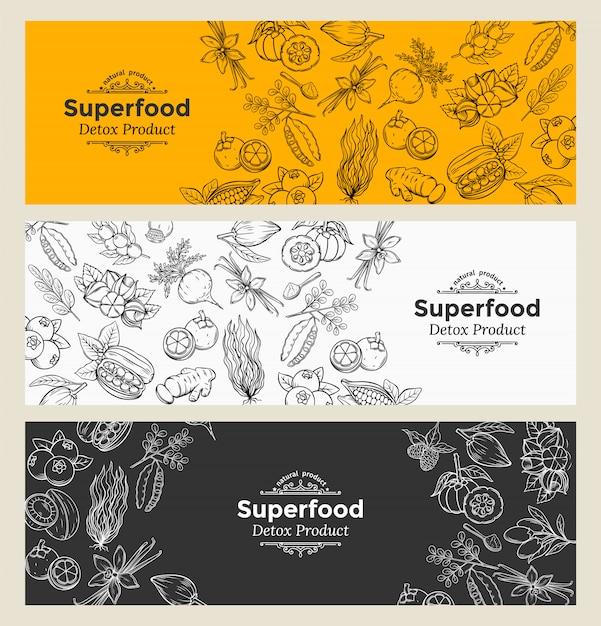 Set di icone di superfood di schizzo Vettore Premium