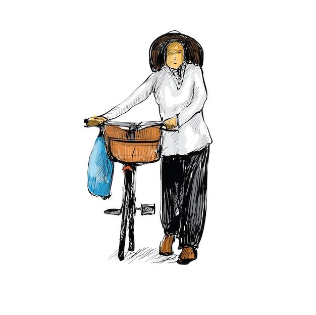 Schizzo di donna che cammina con una bicicletta ad hanoi, vietnam Vettore Premium