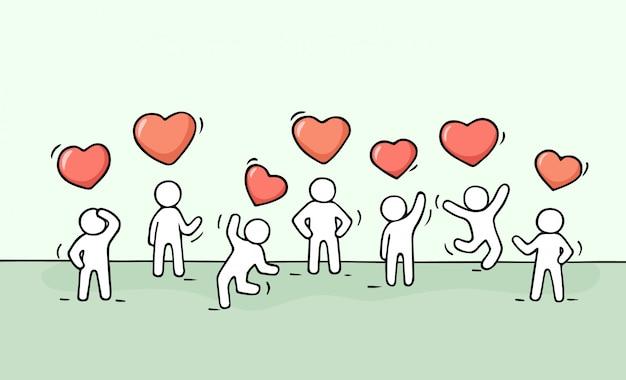 Schizzo di lavorare piccole persone con segni di cuore. Vettore Premium
