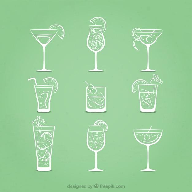 Icone cocktail sketchy Vettore Premium