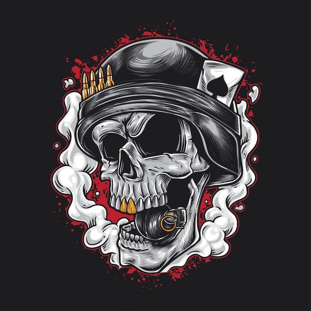 Granata dell'esercito del cranio Vettore Premium