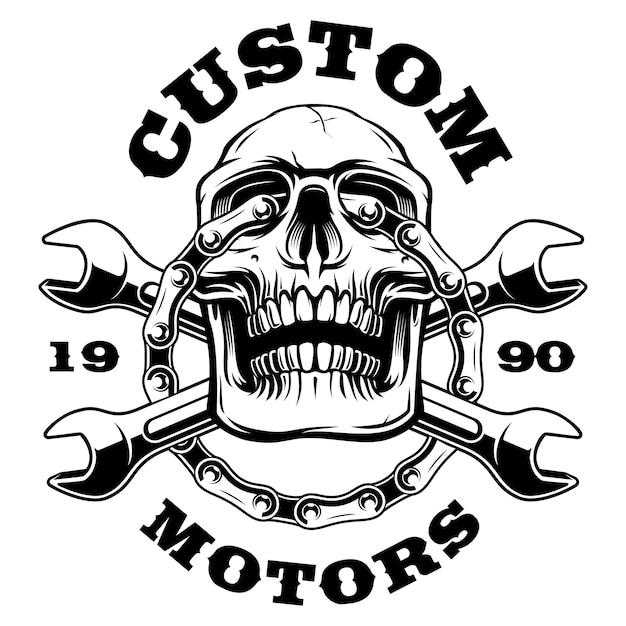 Arte del cranio con chiavi e catena di moto. su sfondo bianco. il testo è nel gruppo separato. Vettore Premium