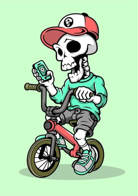 Illustrazione disegnata a mano di skull biker Vettore Premium