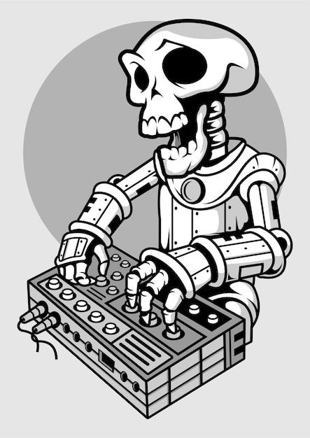 Illustrazione disegnata a mano di skull dj Vettore Premium