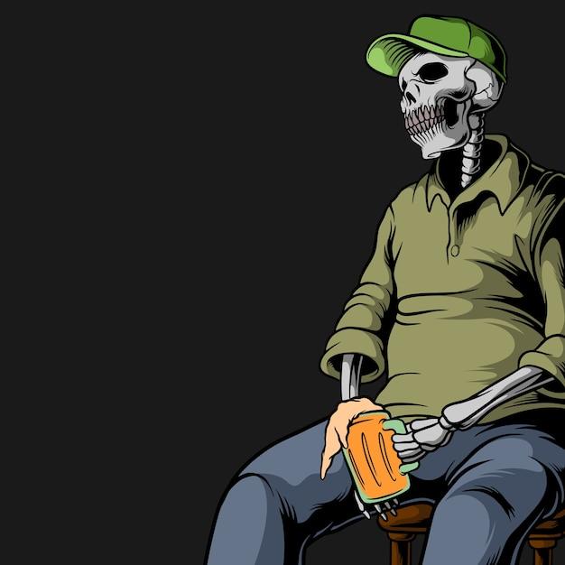 Cranio che beve birra Vettore Premium