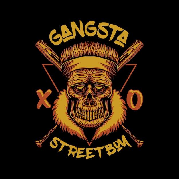 Illustrazione del ragazzo di strada gangsta cranio Vettore Premium