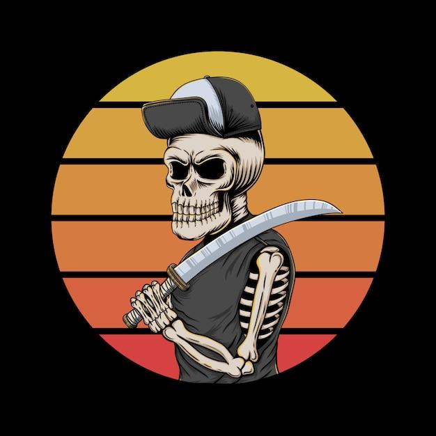 Illustrazione di tramonto del gangster del cranio retro Vettore Premium