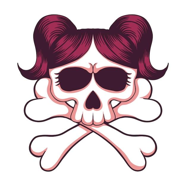 Illustrazione di ossa incrociate della ragazza del cranio Vettore Premium
