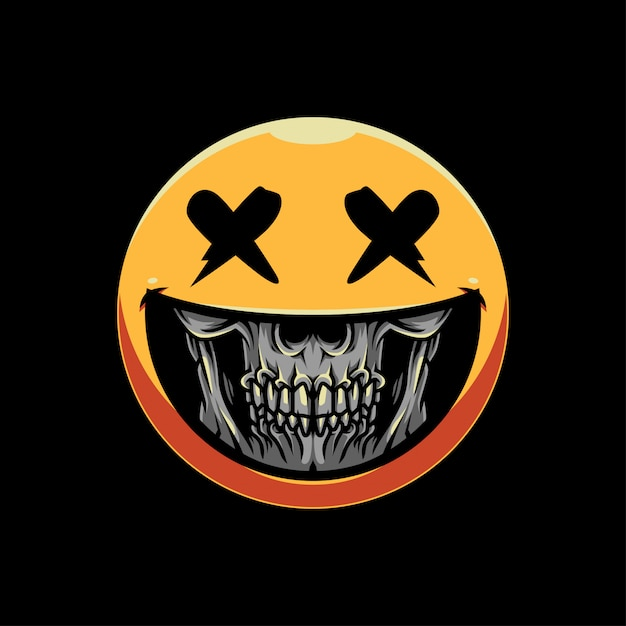 Illustrazione del emoticon del cranio del grin Vettore Premium