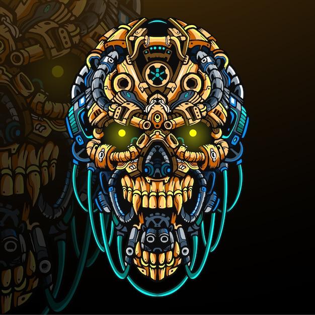 Mascotte della testa del cranio. logo esport Vettore Premium
