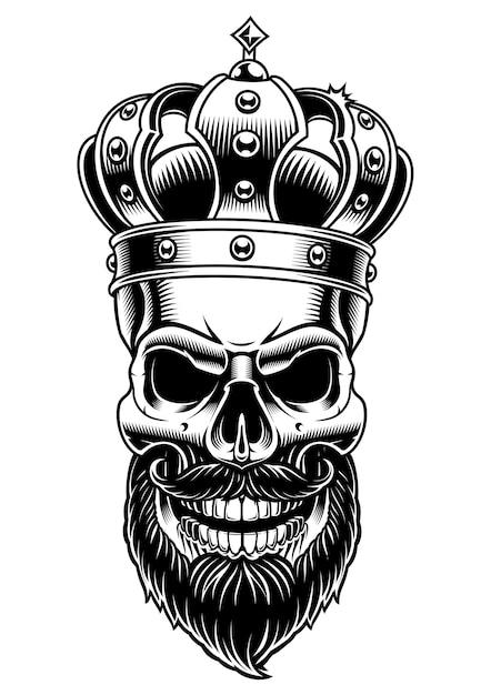 Teschio di re. illustrazione in bianco e nero su sfondo bianco. Vettore Premium