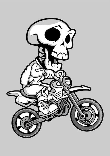Illustrazione disegnata a mano di skull motocrosser Vettore Premium