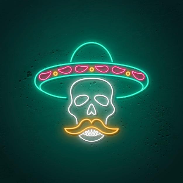 Insegna al neon teschio. design al neon luminoso per day of the dead - dia de muertos. Vettore Premium