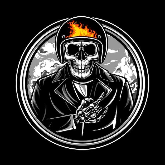 Emblema del logo skull ride Vettore Premium
