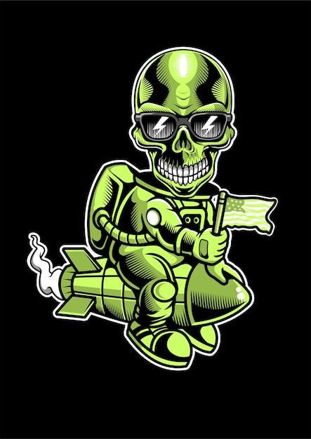 Illustrazione disegnata a mano di skull riding rocket Vettore Premium