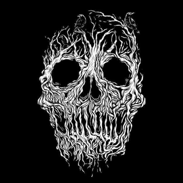 Illustrazione della radice del cranio Vettore Premium