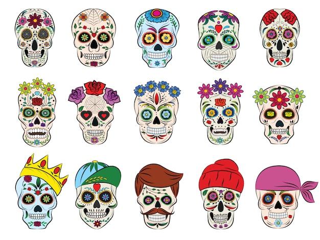 Teschio messicano vettore fiorito testa morta e ossa incrociate in fiore e tatuaggio umano illustrazione teschio spesso set di horror simbolo della morte o del male in messico isolato Vettore Premium