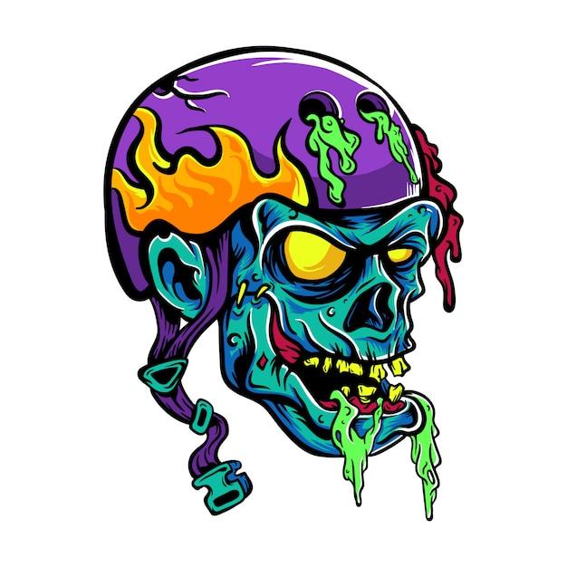 Illustrazione del fumetto del casco di usura del cranio Vettore Premium
