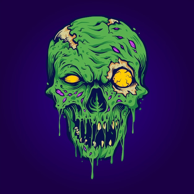 Cranio zombie illustrazioni isolate Vettore Premium