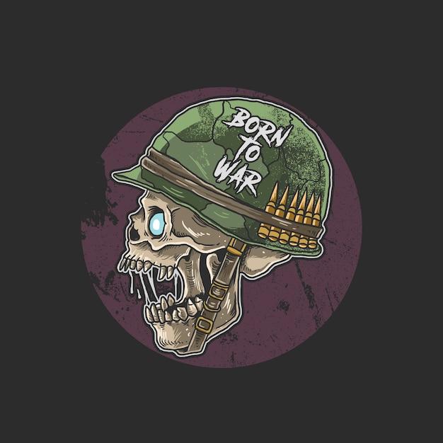 Zombie cranio con elmetto da soldato Vettore Premium