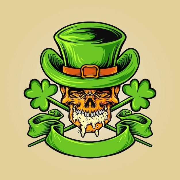 Skulll mascot per le illustrazioni di st patricks beer day Vettore Premium
