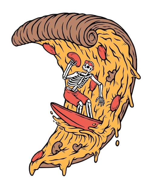 Teschi surf sul concetto di pizza isolato su bianco Vettore Premium