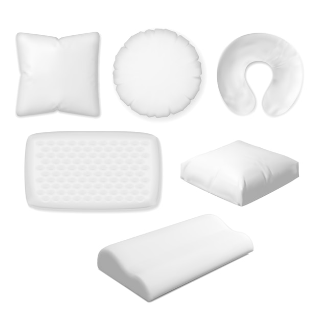 Cuscino per dormire. vector tessile, morbido, cuscino in memory foam, cuscino ortopedico per camera da letto collezione di dimensioni diverse. Vettore Premium
