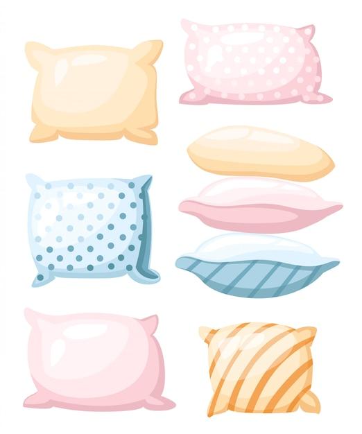Accessori simbolo di sonno e riposo per cuscini di riposo notturno di colori pastello con un'icona di stampa a strisce e punteggiata in diverse angolazioni nello stile del fumetto su priorità bassa bianca Vettore Premium