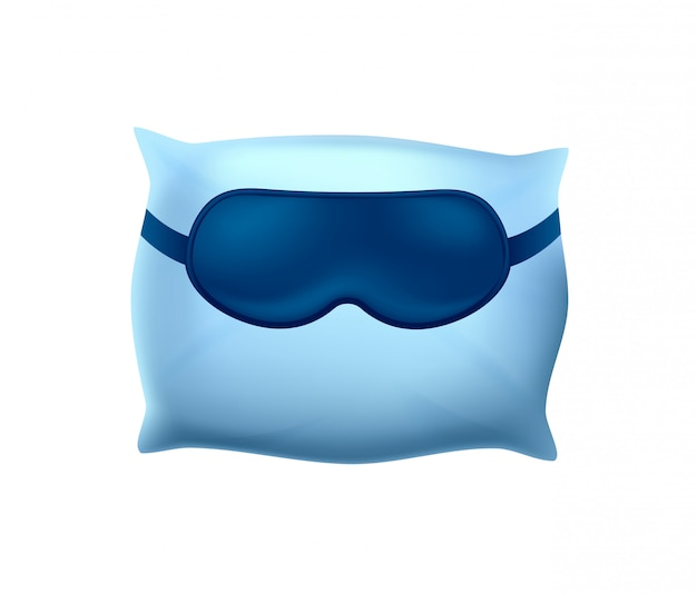 Maschera addormentata sul cuscino blu su bianco Vettore Premium