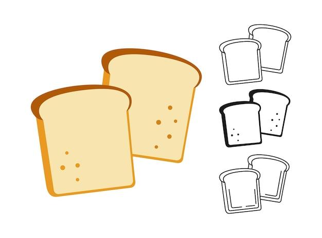 Set di clipart di fetta di pane Vettore Premium