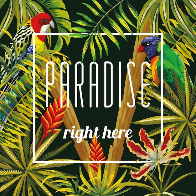 Lo slogan paradiso proprio qui i fiori lasciano il pappagallo nero Vettore Premium