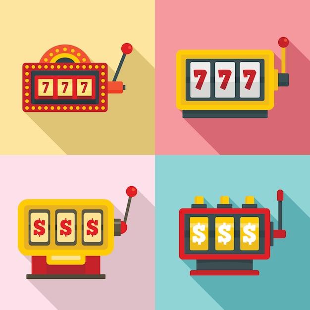 Set di icone di slot machine, stile piano Vettore Premium
