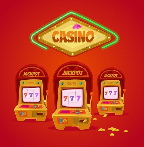 Casinò di las vegas con slot machine Vettore Premium