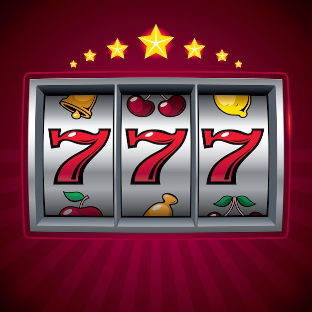 Slot machine lucky seven organizzato per strati colori globali gradienti utilizzati Vettore Premium