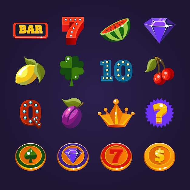 Set di simboli di slot machine Vettore Premium