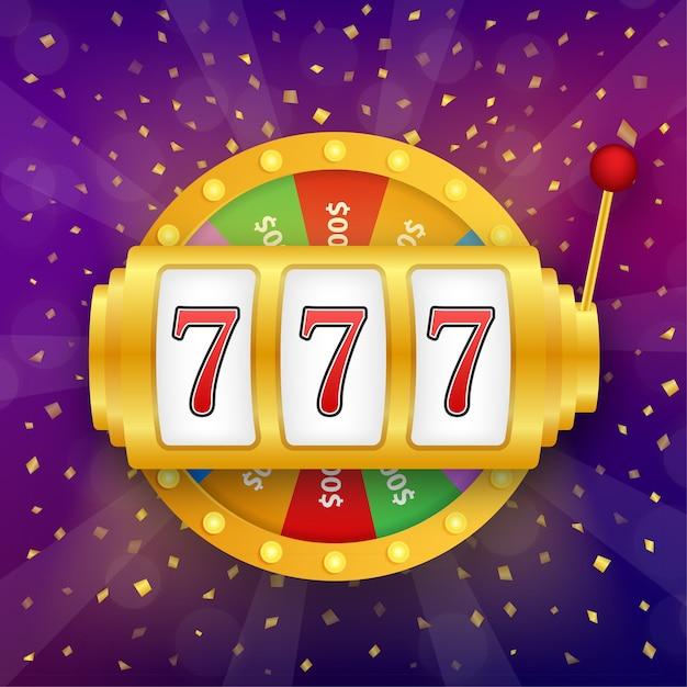Slot machine con jackpot di sette fortunati Vettore Premium