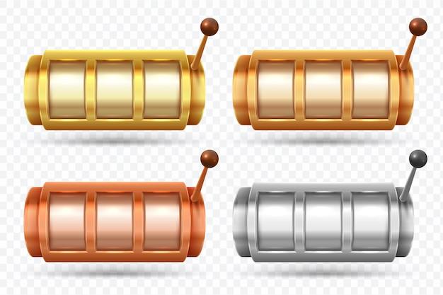 Macchinette da gioco. filatoio del jackpot dorato, d'argento e di bronzo. insieme di elementi di vettore di gioco del gioco del casinò Vettore Premium
