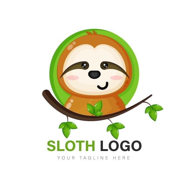 Vettore di progettazione di logo di bradipo Vettore Premium