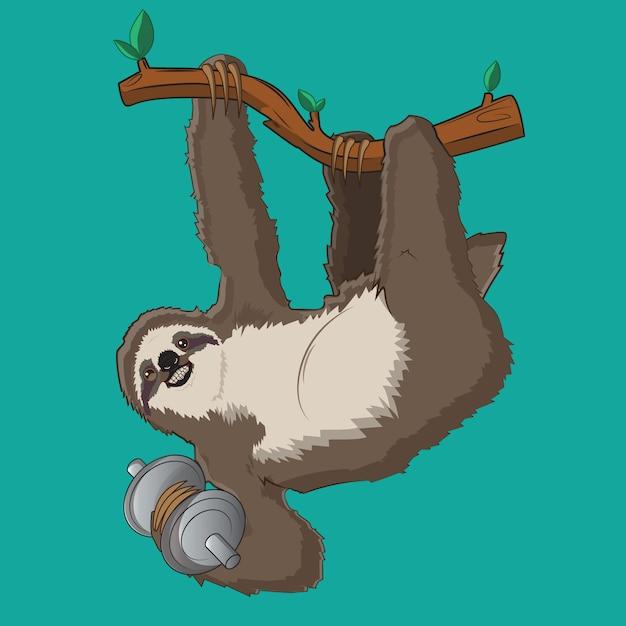 Illustrazione vettoriale bradipo con sfondo blu Vettore Premium