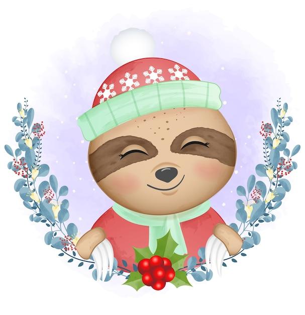 Illustrazione dell'acquerello di natale di bradipo e ghirlanda Vettore Premium