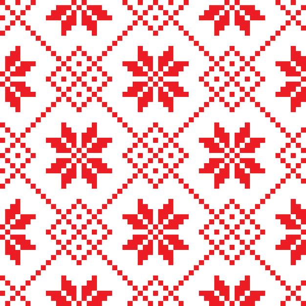 Ornamento tradizionale sloveno. sfondo senza soluzione di continuità Vettore Premium